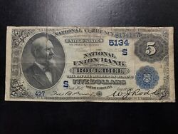 1882 5 Five Dollar Rock Hill, Sc National Bank Note Ch.5134 Date Back Vf