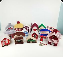 Mary Maxim, Other Christmas Village Lot Houses Building Plastic Canvas Completed