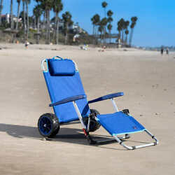 Beach Day Lounger Pull Cart Adjustable Folding Lounge Chair Cargo Wagon Blue