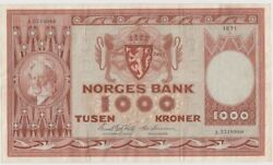 Norway 1000 Kroner Dated 1971 P35e Vf+