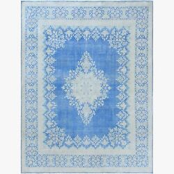 9and0397x12and0397 Faded Blue Farsian Tebraz Clean Wool Vintage Hand Knotted Rug R61315