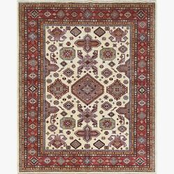 8and0392x10and0391 Hand Knotted Super Kazak With Geometric Design Ivory Wool Rug R61272