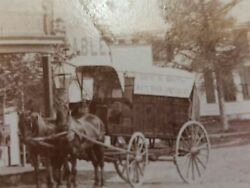 1800s Antique Photo White River Vt Cardigan House Horse Delivery Wagon Geo Smith