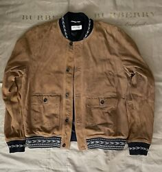 Saint Laurent Suede Bomber Jacket In Whisky Size 58 3500 Fits Like L Size