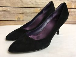 Givenchy Women#x27;s Size 39.5 US 9.5 Black Suede Leather 3quot; Heel Pumps Shoes Italy $26.95