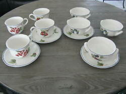4 Each Villeroy And Boch Cottage Cream Soup Bowl Breakfast Mug Saucers 12 Pc Total