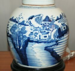 Chinese Ginger Jar Lamps One Or Pair Blue And White Canton Porcelain Vases 7-u