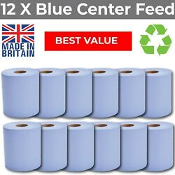 Blue Centre Feed Rolls 2ply Embossed Hand Towels Centrefeed 12 Pack