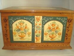 Handcrafted Wood Storage Box French Country Vintage 1980 Signed Floral Fruit