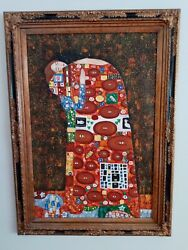 Oil On Canvas Reproduction The Kiss 32 W 46 H Ornate And Heavy Frame