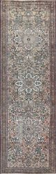 Antique Geometric Heriz Hand-knotted Runner Rug Evenly Low Pile Oriental 3and039x13and039