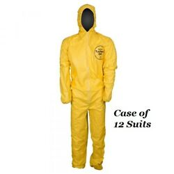 Dupont Tyvek Tychem Qc127s Yellow Chemical Hazmat Coverall Suit, Case Of 12