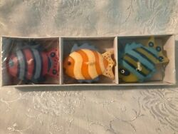 Vintage set of 3 tropical fish floating candles in box. NEW