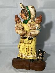 Old Woman With 2 Kids And Dog Doorstop Look Cast Iron