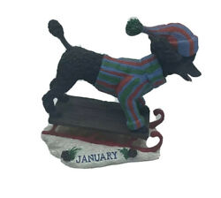 Danbury Mint Poodle Dog January Monthly Perpetual Calendar New Year Sled Beanie