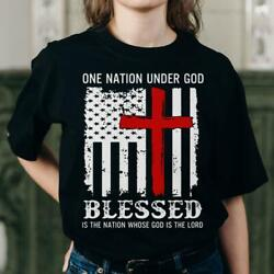 One Nation Under God Us Patriotic Believer 4th Of July Shirt T210519s065 Ta6
