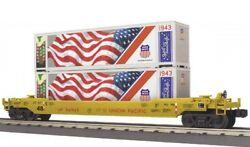 ✅mth Railking Union Pacific Husky Stack Car Double Twin American Flag Us Army
