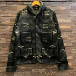 Rrl Native Shawl Knit Jacket Size M Blue Rare Pre-owned