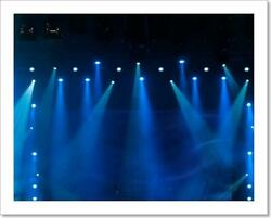 Blue Stage Lights At The Art Print / Canvas Print. Poster, Wall Art, Home Decor