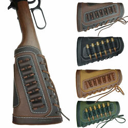 Leather Shell Rifle Cartridge Holder Canvas Ammo Carrier Pouch Gun Buttstock