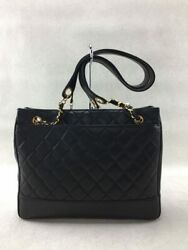 Shoulder Bag Leather Matelasse Blk Lambskin Previously Owned No.5930