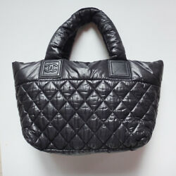 Cocococoon Tote Bag Pm Nylon Quilt Black Women's Hand No.6034