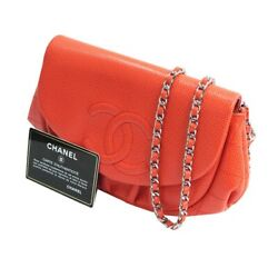 Half Moon Chain Wallet Shoulder Bag Red 280321 Previously Owned No.7551