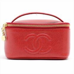 Coco Mark Caviar Skin Vanity Bag Red Gold Previously Owned No.7737