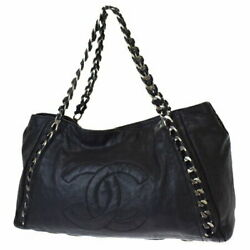 Luxury Line Chain Shoulder Bag Coco Mark Black Previously Owned No.7756