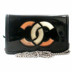 Enamel Coco Mark Chain Wallet Shoulder Bag Previously Owned No.7743