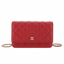 Chain Wallet Caviar Red Champagne Gold Fittings Purse Previously No.223