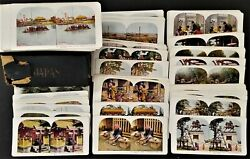 Lot Antique 99pc Japan Colored Stereoviews With Box Photographs