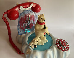 Vintage Coca Cola Animated Polar Bear Phone Telephone Collectible Working Tested