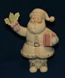 Lenox Fine Porcelain 24k Gold Santa W Presents And Holly Leaves 7 1/2h Figurines