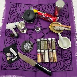 Witchcraft Altar Pentacle Cloth Tool Kit Set Wicca Beginner