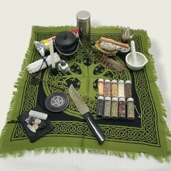 Tree Of Life Witchcraft Altar Pentacle Cloth Tool Kit Set Wicca Beginner