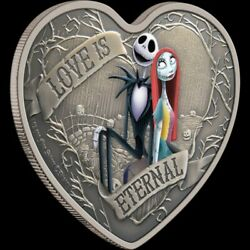 Nightmare Before Christmas 2021 Love Is Eternal 1oz.999 Silver Heart Shaped Coin
