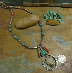 Navajo Ancient Arrowhead Necklace Sterling Bench Bead Turquoise Pawn Fred Harvey
