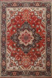 Antique Vegetable Dye Heriz Hand-knotted Area Rug Wool Oriental Carpet 6and039x9and039 Red