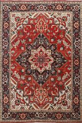 Antique Vegetable Dye Heriz Hand-knotted Area Rug Wool Oriental Carpet 6'x9' Red