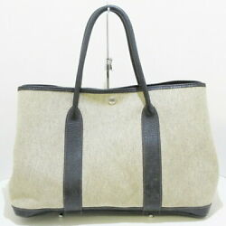 Hermes Garden Party Pm Tote Bag Silver Fittings Twal Previously Owned No.5954