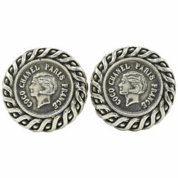 Coco Coin Motif Round Earring 96a Vintage Accessories Antique No.7247