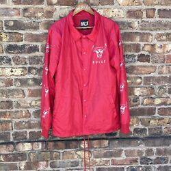 Chicago Bulls Jacket Red Warmup Snap Close Windbreaker Mesh Lined Size Large