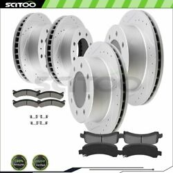 Front And Rear Brake Rotors Ceramic Pads For Gmc Sierra 2500 Hd 8.1l Drill And Slot