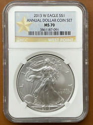 2013-w American Silver Eagle Burnished Annual Dollar Set Ngc Ms70 Ms-70 Coin