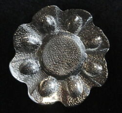 Vintage 12.5 Clear Crystal Textured Art Glass Deviled Egg Plate /tray-holds 8