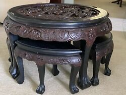 Antique Opium Coffee Table With Benches