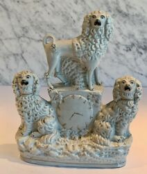 Antique Staffordshire Group Of 3 Spaniels Poodle Clock Figure 19th Century