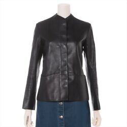Hermes Lambskin Leather Jacket 34 Women 's Black Previously Owned No.6573
