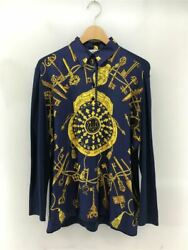 Hermes Long-sleeved Shirt Silk Nvy Total Pattern Polo Fabric Change No.5752